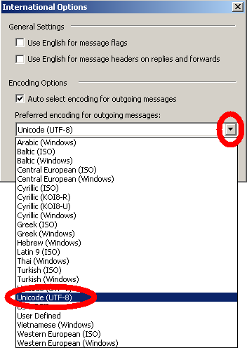 Preferred encoding for outgoing messages, Unicode (UTF-8)