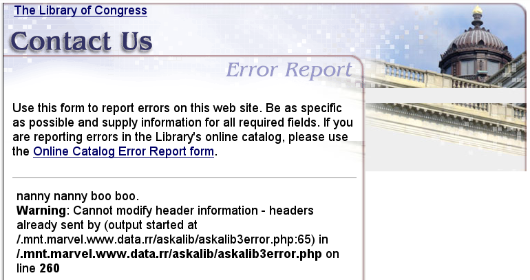 Library of Congress silverlight error message
