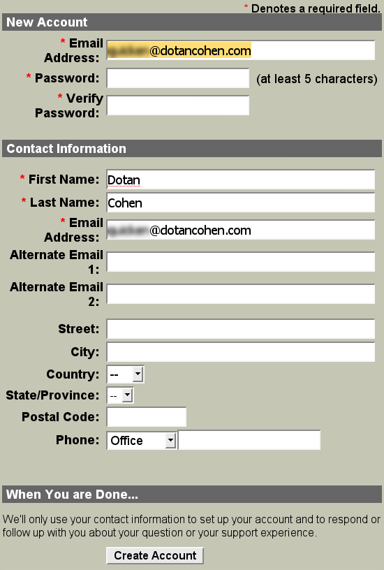 Quicken: New Account form